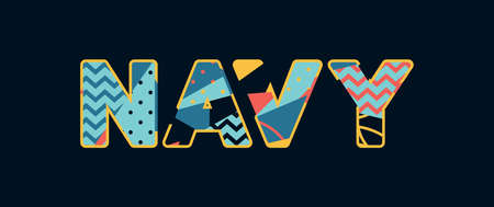 The word NAVY concept written in colorful abstract typography.