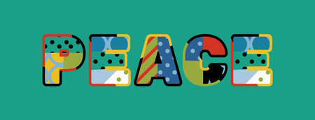 The word PEACE concept written in colorful abstract typography. Illustration