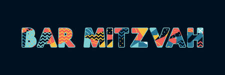 The words BAR MITZVAH concept written in colorful abstract typography.