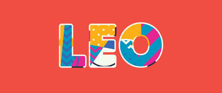The word LEO concept written in colorful abstract typography.