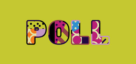 The word POLL concept written in colorful abstract typography.