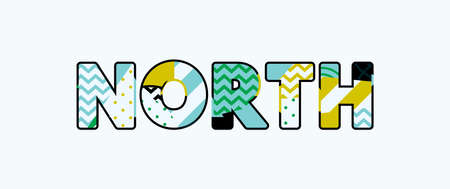 The word NORTH concept written in colorful abstract typography.