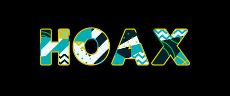 The word HOAX concept written in colorful abstract typography.