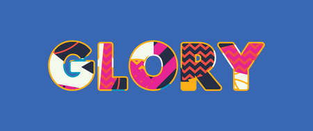 The word GLORY concept written in colorful abstract typography.