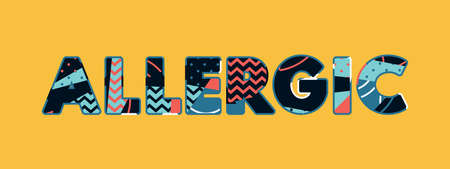 The word Allergic concept written in colorful abstract typography. Vettoriali