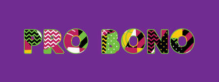 The words PRO BONO concept written in colorful abstract typography.