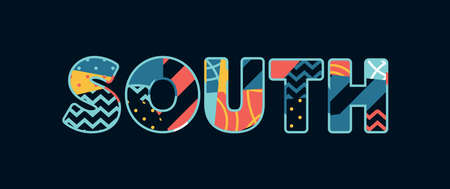 The word SOUTH concept written in colorful abstract typography.