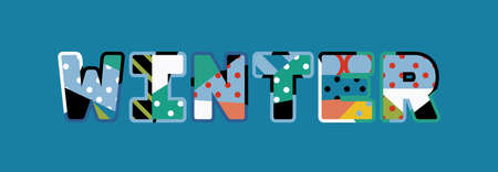 The word WINTER concept written in colorful abstract typography.