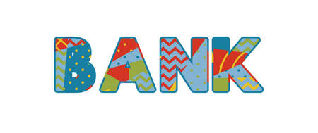 The word BANK concept written in colorful abstract typography. Illusztráció