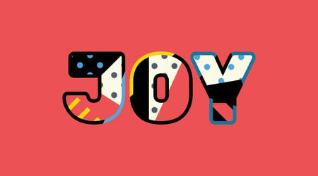 The word JOY concept written in colorful abstract typography.