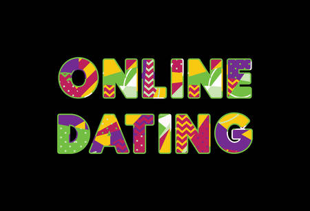 The word ONLINE DATING concept written in colorful abstract typography.