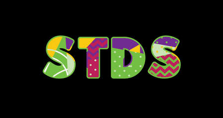 The word STDS concept written in colorful abstract typography.