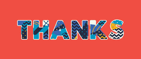 The word THANKS concept written in colorful abstract typography.