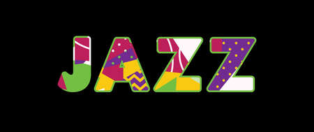 The word JAZZ concept written in colorful abstract typography. Çizim