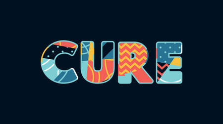 The word CURE concept written in colorful abstract typography.