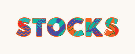 The word STOCKS concept written in colorful abstract typography.