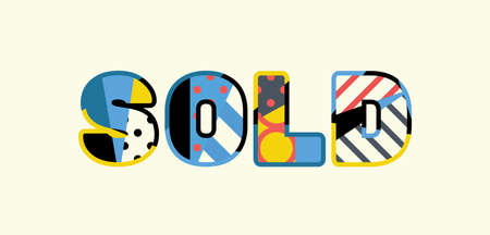 The word SOLD concept written in colorful abstract typography.