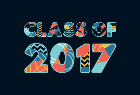 The words CLASS OF 2017 concept written in colorful abstract typography.