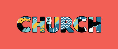 The word CHURCH concept written in colorful abstract typography.
