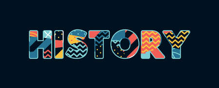 The word HISTORY concept written in colorful abstract typography. Çizim