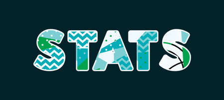 The word STATS concept written in colorful abstract typography.