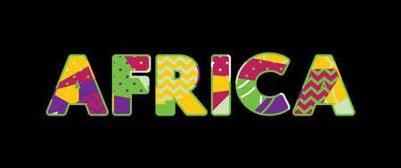 El concepto de África de la palabra escrito en tipografía abstracta colorida.