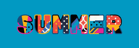 The word SUMMER concept written in colorful abstract typography.