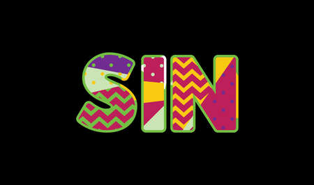 The word SIN concept written in colorful abstract typography.