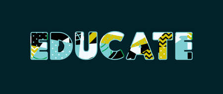 The word EDUCATE concept written in colorful abstract typography. Vectores