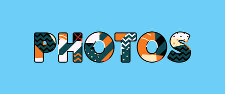 The word PHOTOS concept written in colorful abstract typography.