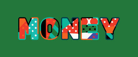The word MONEY concept written in colorful abstract typography.