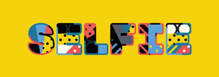 The word SELFIE concept written in colorful abstract typography.