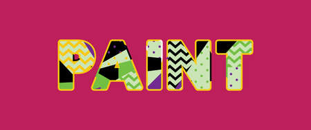 The word PAINT concept written in colorful abstract typography.