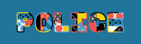 The word POLICE concept written in colorful abstract typography. Illustration