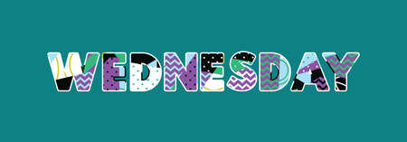 The word WEDNESDAY concept written in colorful abstract typography.