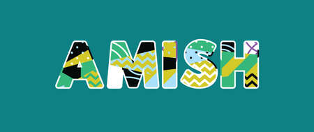 The word AMISH concept written in colorful abstract typography.