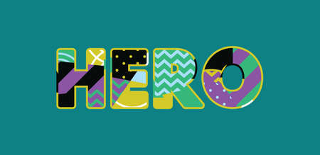 The word HERO concept written in colorful abstract typography.