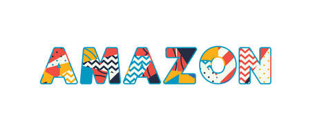 The word AMAZON concept written in colorful abstract typography.
