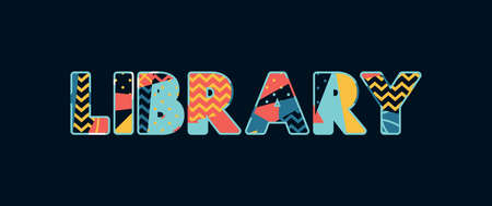 The word LIBRARY concept written in colorful abstract typography.