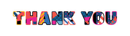 The words THANK YOU concept written in colorful abstract typography. Illustration