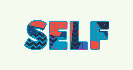 The word SELF concept written in colorful abstract typography.