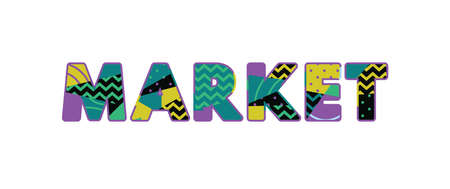 The word MARKET concept written in colorful abstract typography. Illustration