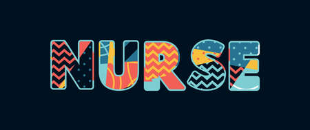 The word NURSE concept written in colorful abstract typography.