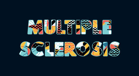 The words MULTIPLE SCLEROSIS concept written in colorful abstract typography.