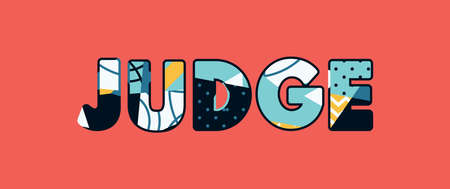 The word JUDGE concept written in colorful abstract typography.