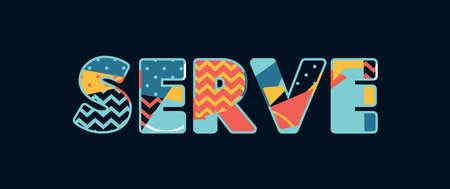 El concepto de servicio de palabra escrito en tipografía abstracta colorida.