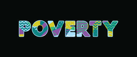 The word POEVERTY concept written in colorful abstract typography.