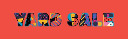 Het woord YARD SALE-concept geschreven in kleurrijke abstracte typografie. Vector Illustratie