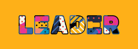 The word LEADER concept written in colorful abstract typography.