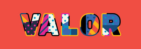 The word VALOR concept written in colorful abstract typography.